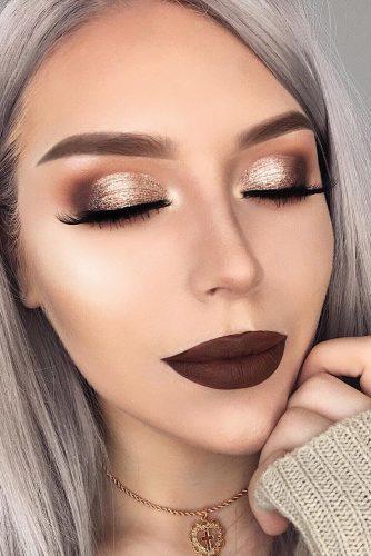 fall wedding makeup shimmer gold eyeshadows and long lashes dark matte lips lenkalul