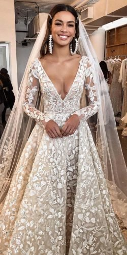 a line wedding dresses deep v neckline with illusion long sleeves floral berta