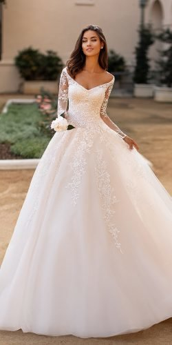 a line wedding dresses with illusion lace sleeves v neckline moonlightbridal