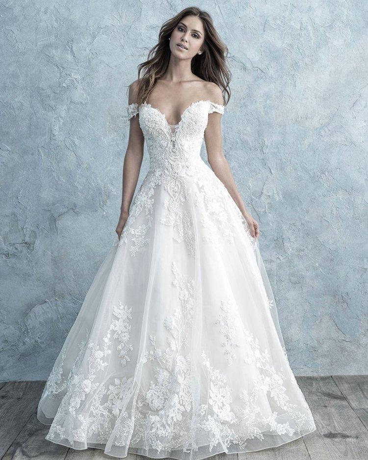 váy cưới trễ vai một dòng người yêu quây viền cổ ren quyến rũ