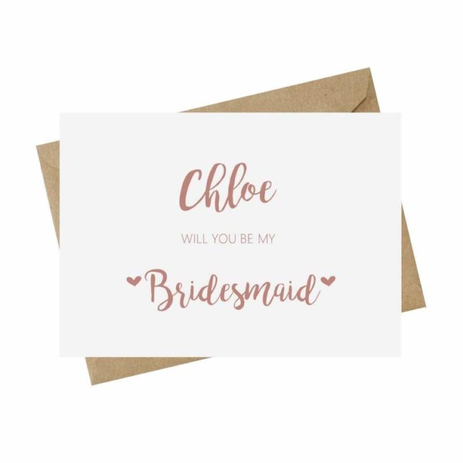 personalized card pink bridesmaid proposal ideas