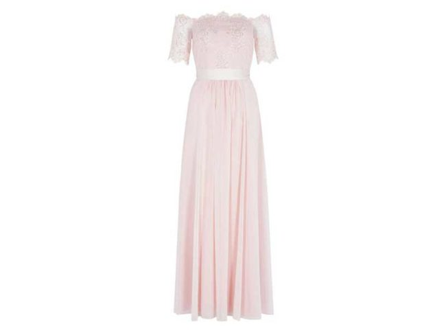 scallop edged pink lace midi bridesmaid dress from coastline bridesmaid dresses