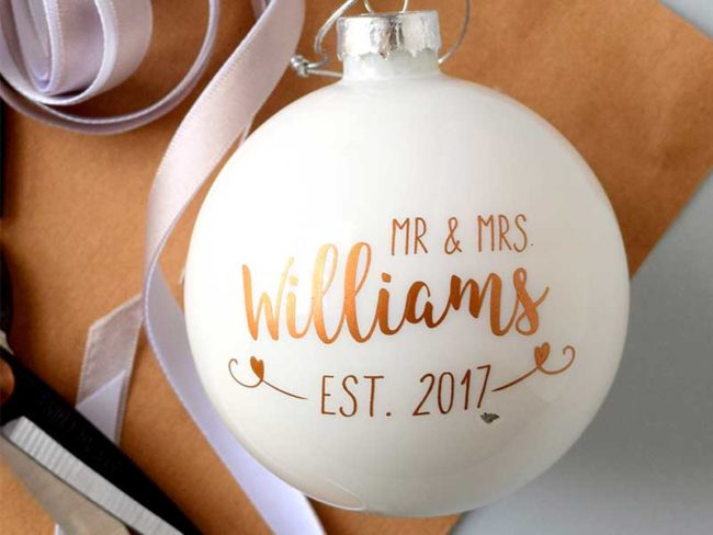 personalized christmas bauble for alternative festive cakes