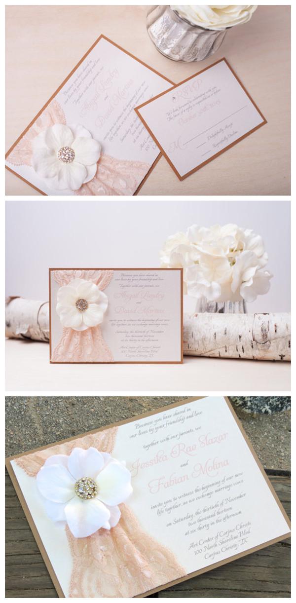 Blush And Ivory Lace Wedding Invitation