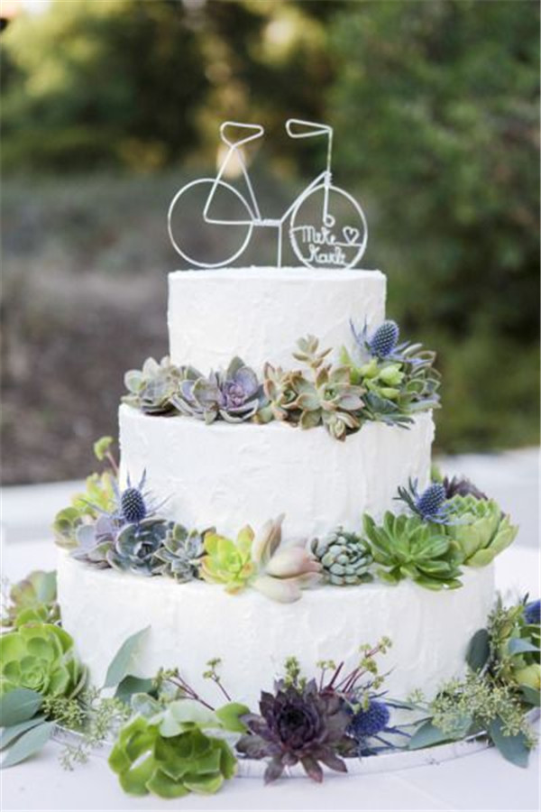 20  Succulent Wedding Cake Inspiration That Wow    18 succulents wedding cake topped with tiny bike