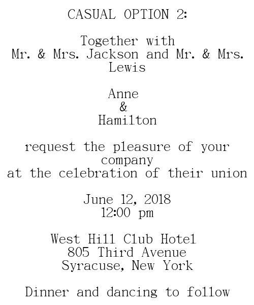 Casual Wedding Invitations Wording Option 2 Couple Pas Hosting