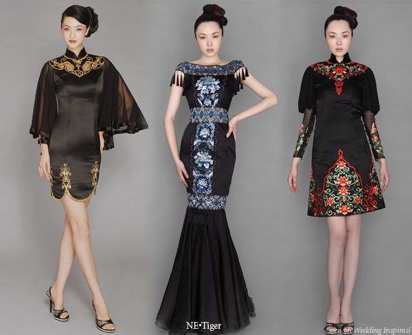 Black Chinese influenced evening gowns and wedding dresses by China's NE.Tiger