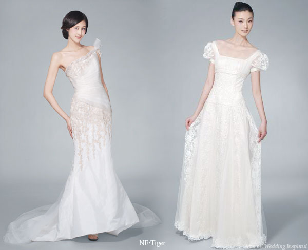 Ne.Tiger western wedding dresses in white - one shoulder and puffy sleeve lace