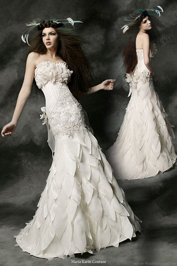 Maria Karin Couture 2011 bridal gown collection - strapless  wedding dress with leaf or petal panel skirt