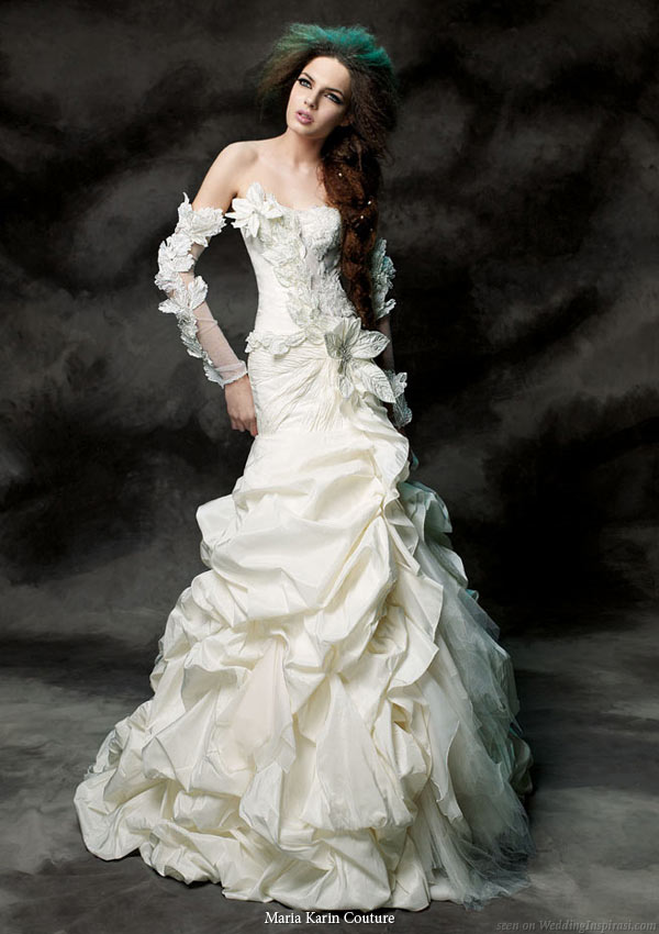 Maria Karin Couture 2011 bridal gown collection - strapless wedding dress with pickup skirt and detached long sleeves