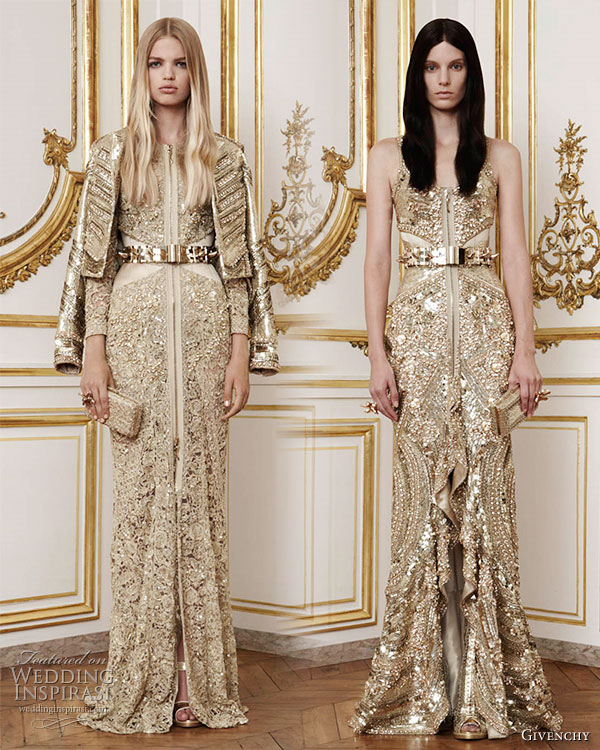 Givenchy Fall Winter 2010/2011 Haute Couture - Veladoras: long   corseted dress hand embroidered in an open lace design in golden thread,   fine gold chain and crystals worn with a tail coat embroidered with   hand cut gold metallic sequins and crystals; Coronos: long corseted   dress embroidered with hand cut gold metallic sequins and crystals