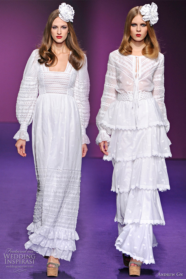 Romantic white eyelet dresses from Andrew Gn Spring/Summer 2011 ready-to-wear collection