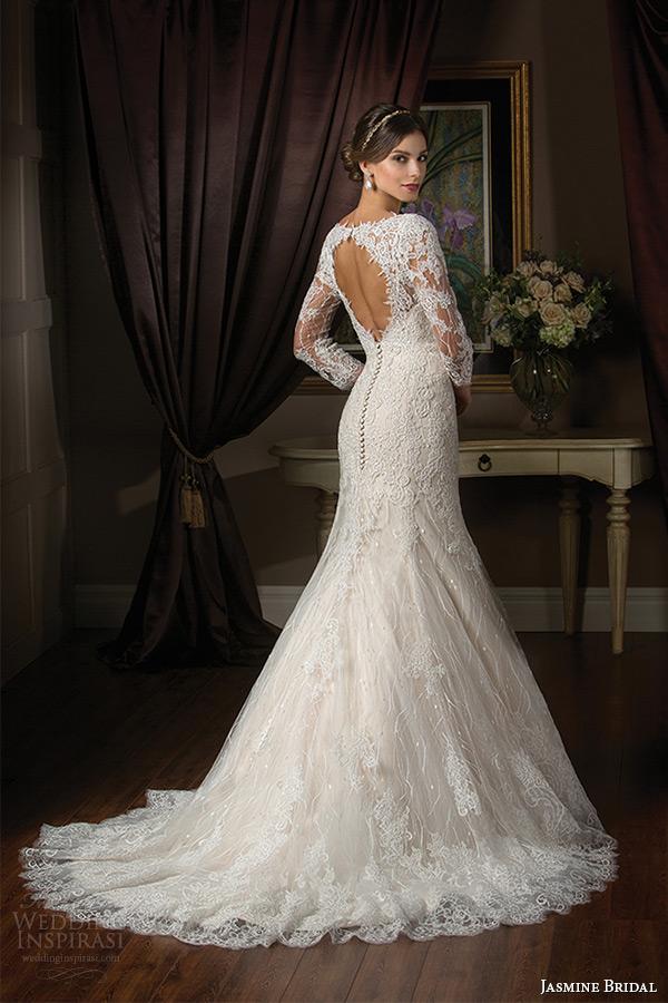 jasmine bridal 2015 wedding dress three quarter sleeves lace v neckline keyhole back trumpet mermaid gown t172002 back
