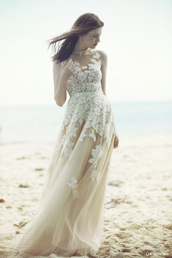 george wu bridal 2015 wulfilas message aura sleeveless wedding dress nude tulle lace