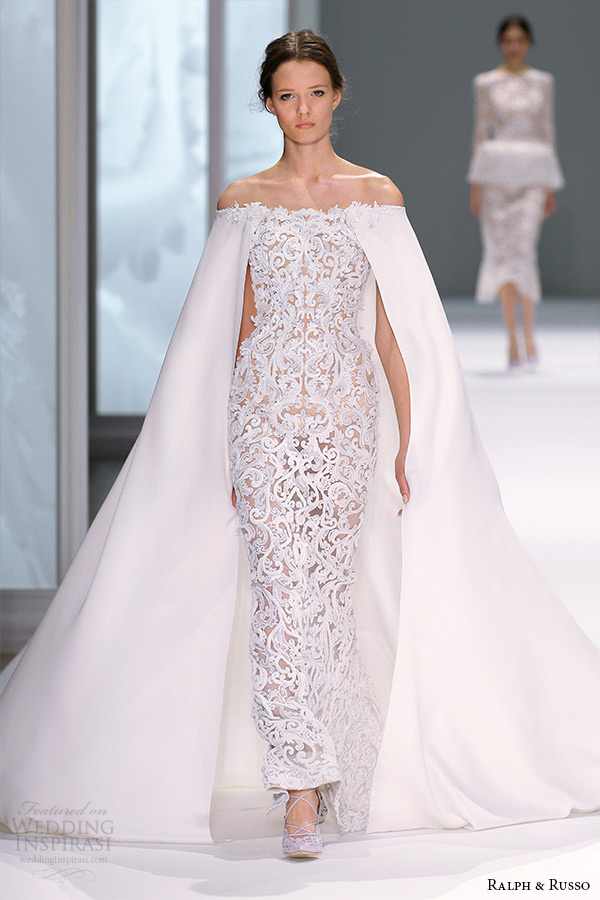 ralph and russo spring 2015 couture collection off the shoulder sheath white dress with filigree pattern and cape
