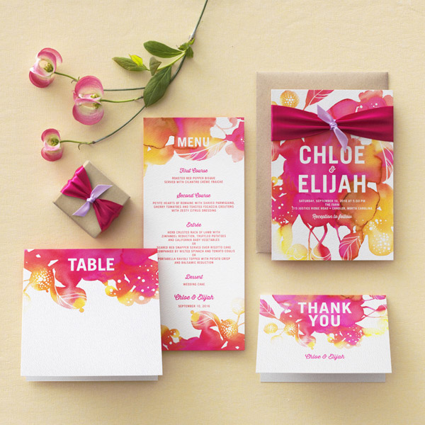 You 39 Re Invited Watercolor Wedding Invitation Suite Printable Diy Pink Yellow