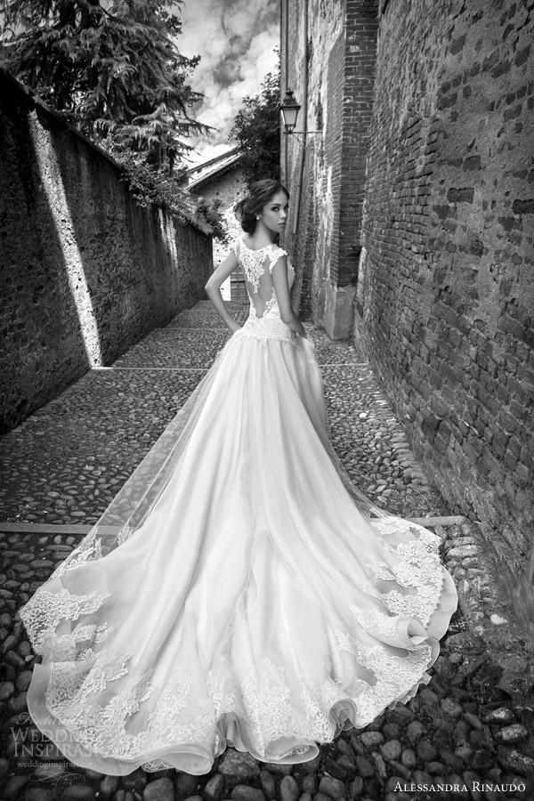 alessandra rinaudo bridal 2015 silvie lace cap sleeve wedding dress illusion heart shaped keyhole back view train