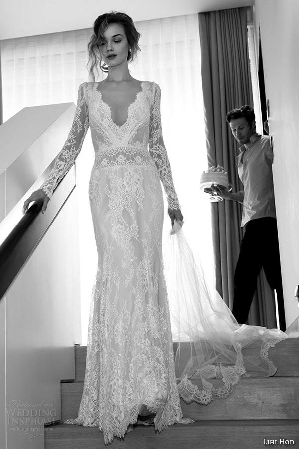 lihi hod wedding dresses 2015 bridal gown long sleeves v neckline full lace sheath dress style white oriental