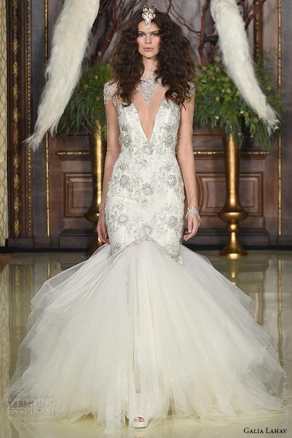 galia lahav wedding dress spring 2016 runway illusion long sleeves beaded cap sleeves plunging v neckline beaded bodice mermaid bridal gown tulle skirt