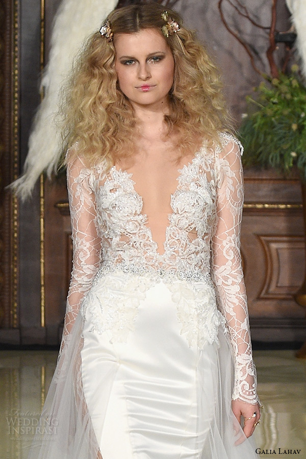 galia lahav wedding dress spring 2019 runway long sleeves lace plunging v neckline satin sheath bridal gown with train zoom