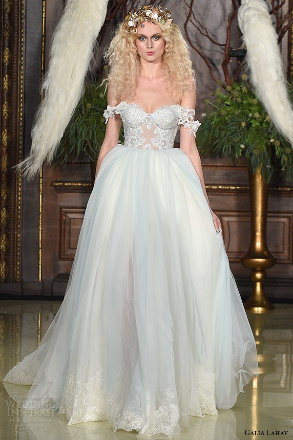 galia lahav wedding dress spring 2019 runway off the shoulder bustier bodice tulle bridal ball gown