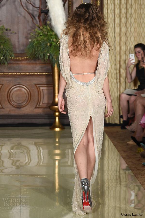 galia lahav wedding dress spring 2016 runway sleeveless deep plunging neckline low back beaded blush sheath bridal gown back