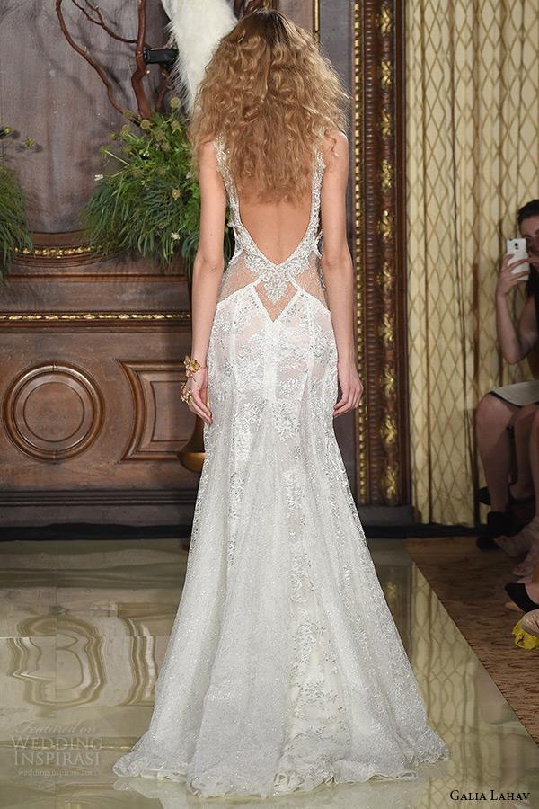 galia lahav wedding dress spring 2016 runway sleeveless deep plunging neckline low back sheer keyhole waist sheath bridal gown back