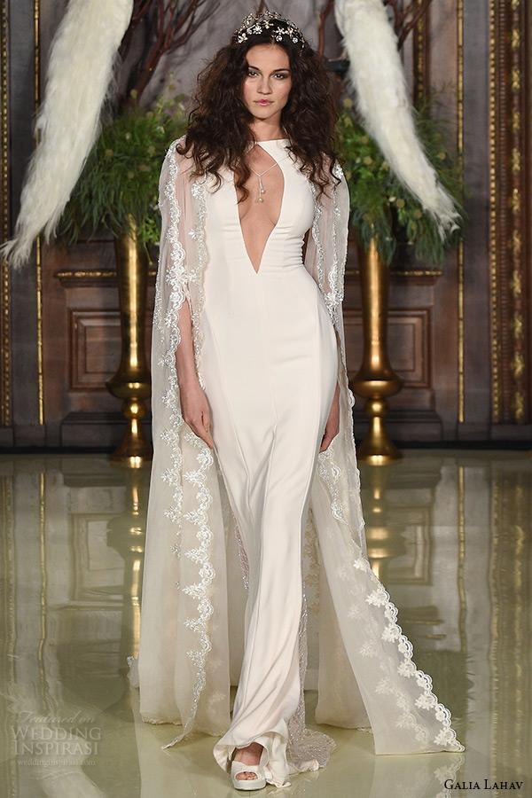galia lahav wedding dress spring 2016 runway sleeveless keyhole neckline blush champagne sheath bridal gown with lace cape