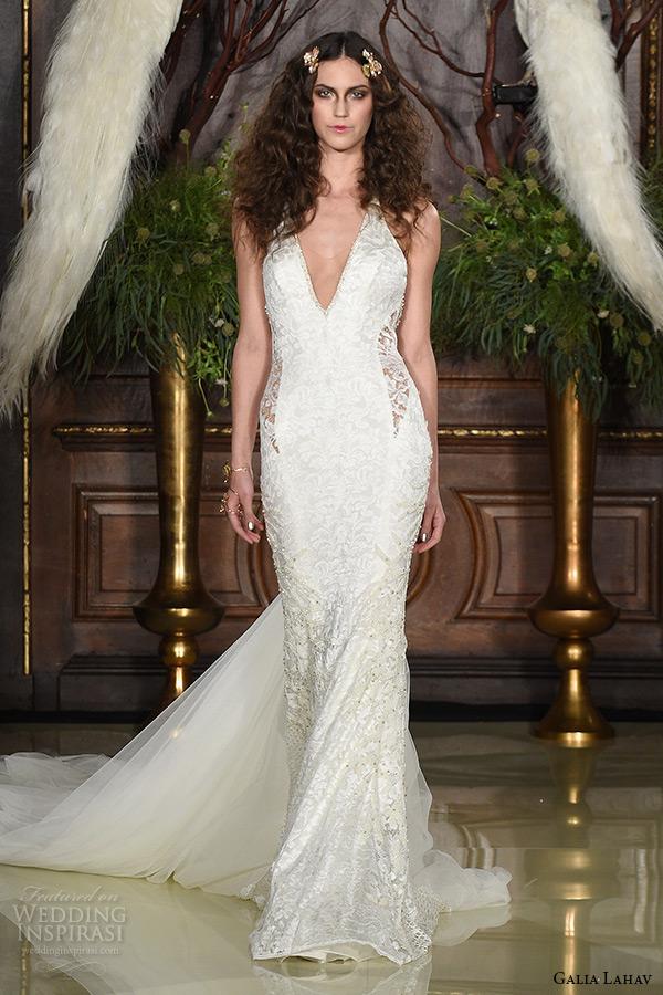 galia lahav wedding dress spring 2016 runway v neckline sleeveless keyhole waist sheath bridal gown with train