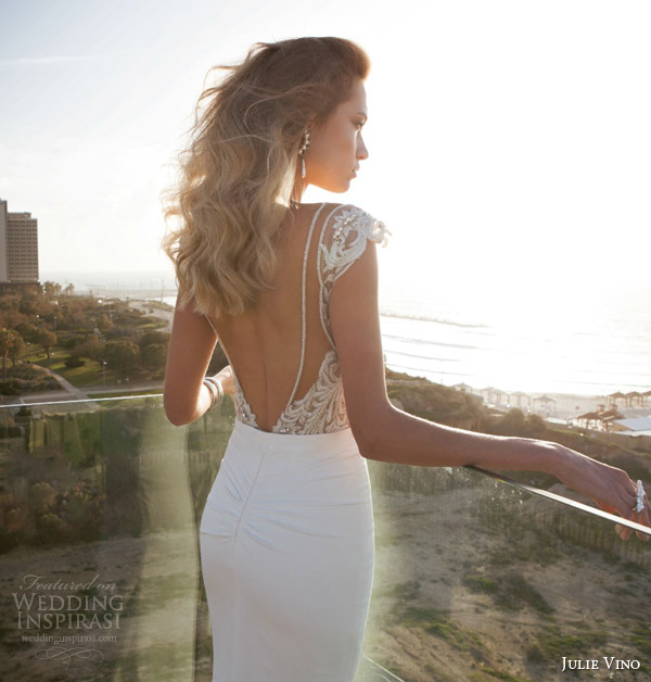 julie vino bridal spring 2015 empire erin cap sleeve embellished bodice wedding dress back view