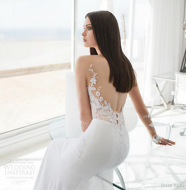 julie vino bridal spring 2015 urban alexa illusion long sleeve wedding dress lace back view close up detail