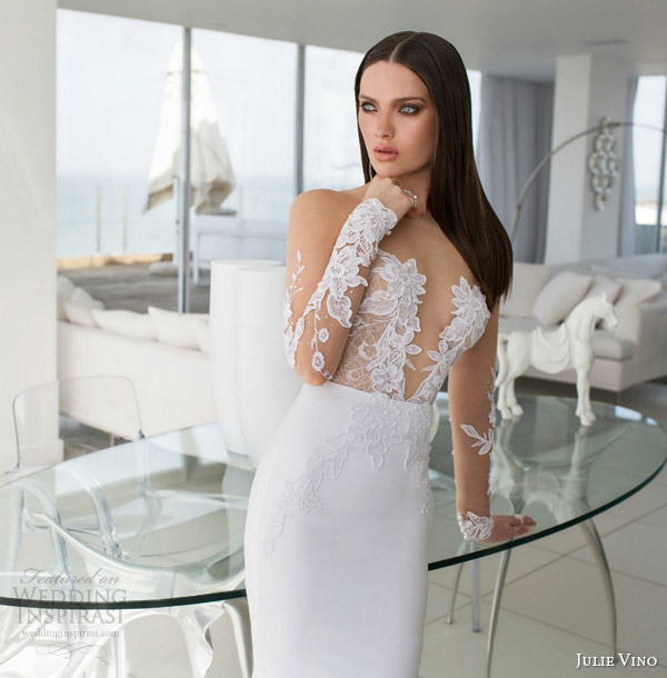 julie vino bridal spring 2015 urban alexa illusion long sleeve wedding dress lace detail bodice