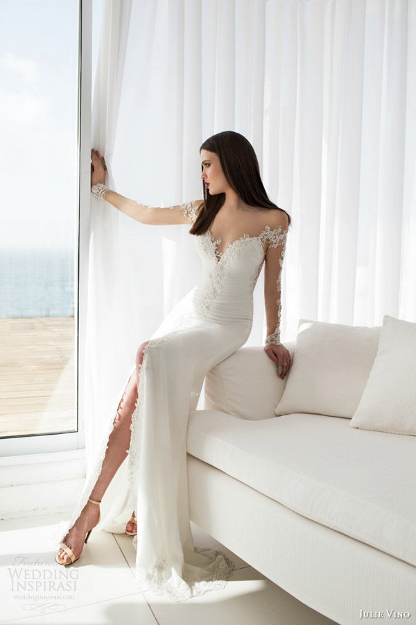 julie vino bridal spring 2015 urban elsa sheath wedding dress illusion sleeves neckline slit skirt