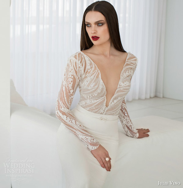 julie vino bridal spring 2015 urban scarlet long sleeve a line wedding dress bodice close up