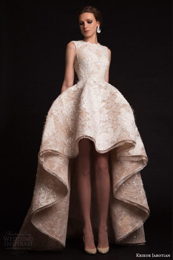 krikor jabotian bridal spring 2015 sleeveless high to low wedding dress