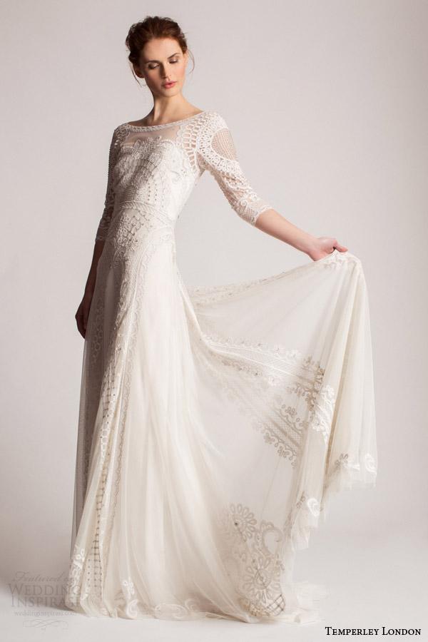 temperley london summer 2016 bridal marsy three quarter sleeve lace wedding dress