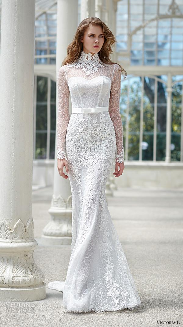 victoria f 2016 bridal high neck lace sheer long sleeves sheath wedding dress