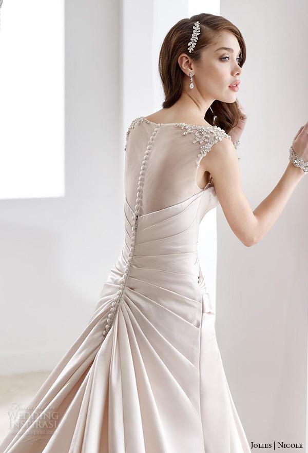 nicole jolies 2016 wedding dresses bateau neckline sleeveless champagne modified a line wedding dress joab16492 close up