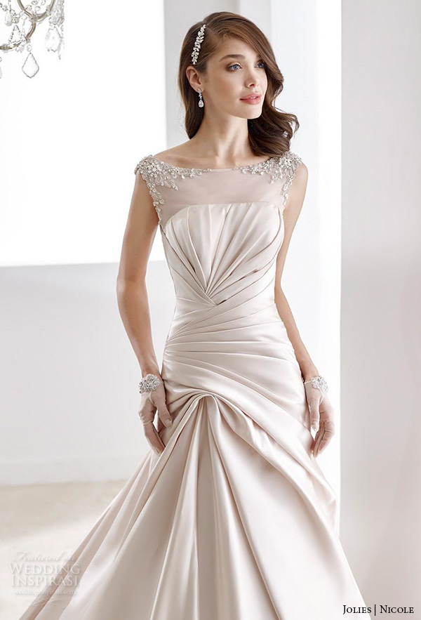 nicole jolies 2016 wedding dresses bateau neckline sleeveless champagne modified a line wedding dress joab16492 front