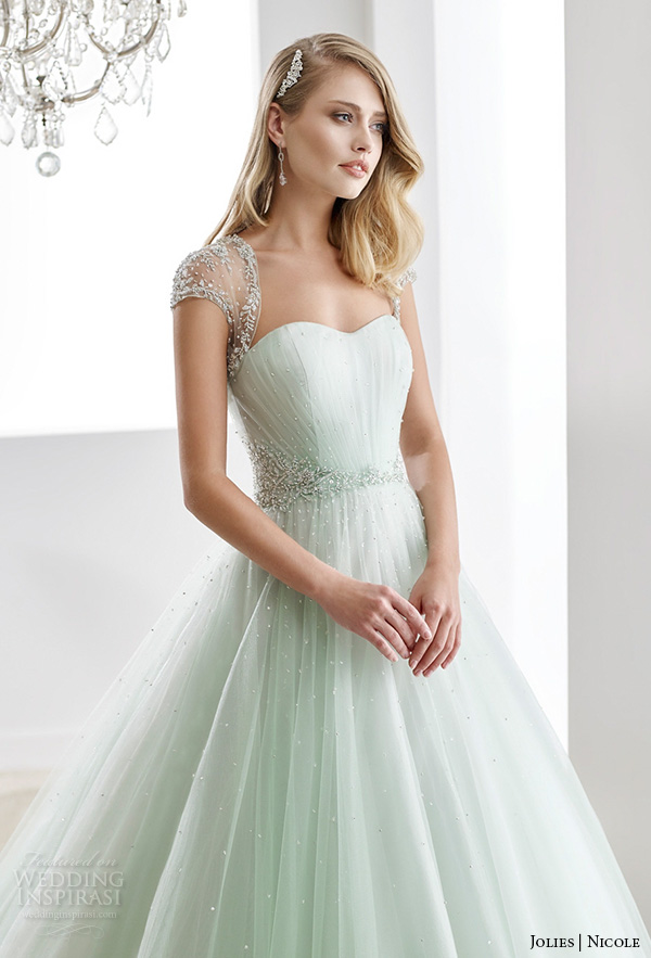 nicole jolies 2016 wedding dresses beaded sheer cap sleeves sweetheart neckline pastel green tulle a line wedding dress joab16423 close up