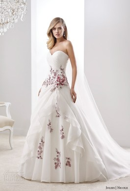 Nicole Jolies Collection 2016     Colored Wedding Dresses   Wedding     nicole jolies 2016 wedding dresses strapless sweetheart neckline red accent  romantic a line wedding dress joab16469