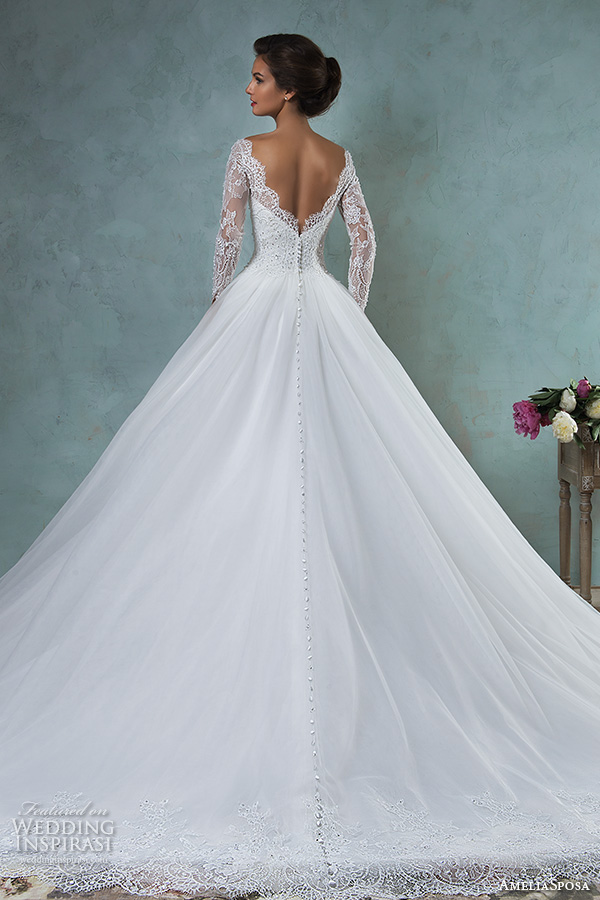 amelia sposa 2016 wedding dresses bateau neckline lace long sleeves beaded embellishment tulle skirt a line ball gown wedding dress jessica back view