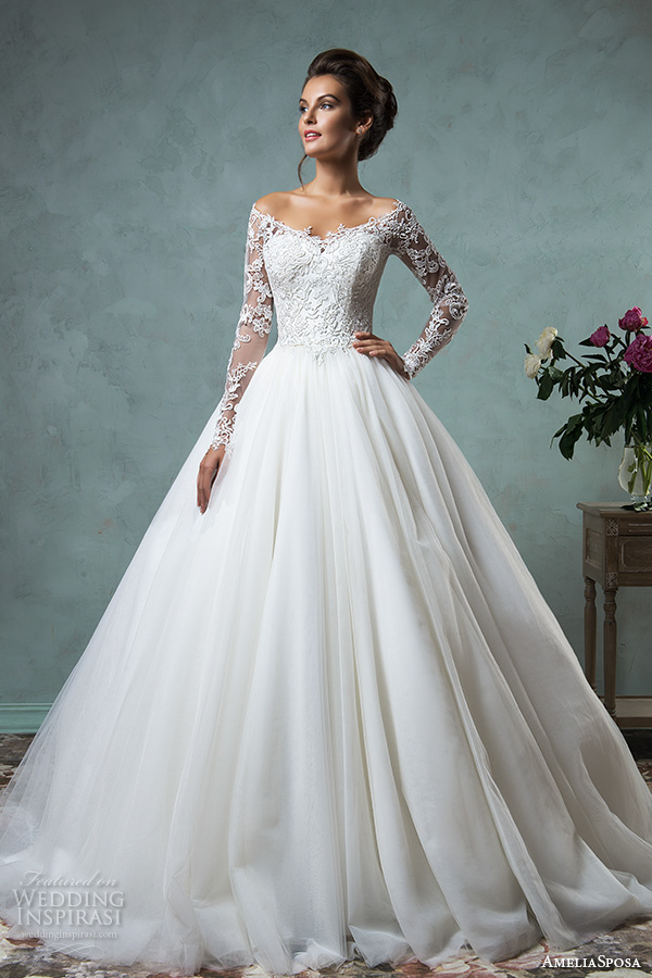 amelia sposa 2016 wedding dresses off the shoulder lace long sleeves embroidered bodice gorgeous a line ball gown wedding dress nova