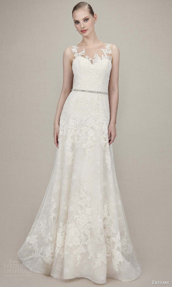 enzoani bridal 2016 karina sleeveless lace romantic wedding dress a line beaded attached belt