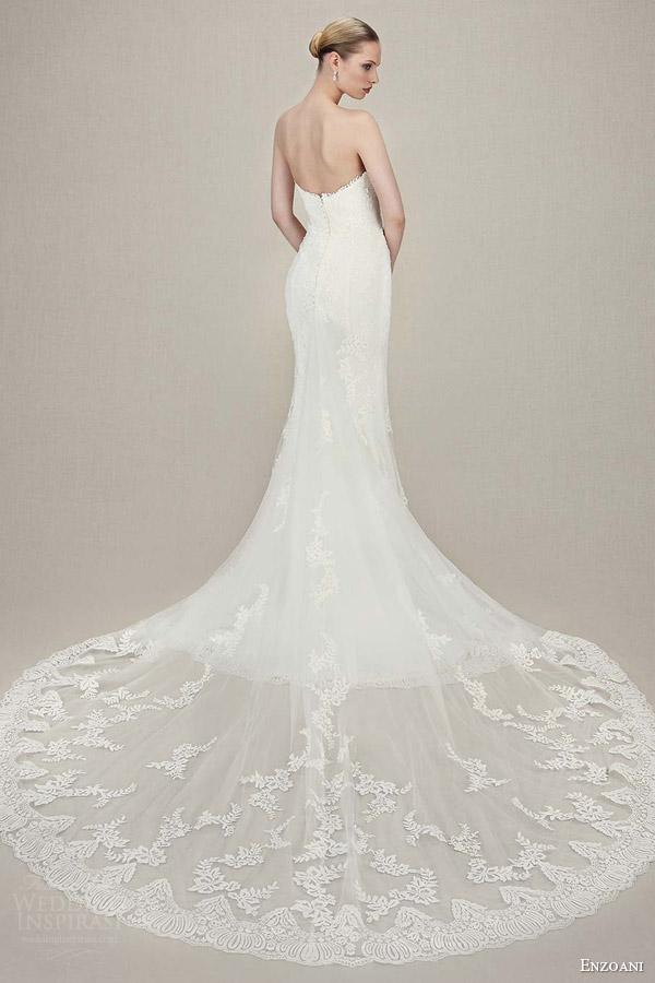 enzoani bridal 2016 karolina strapless sweetheart vintage lace tull mermaid wedding dress back view train