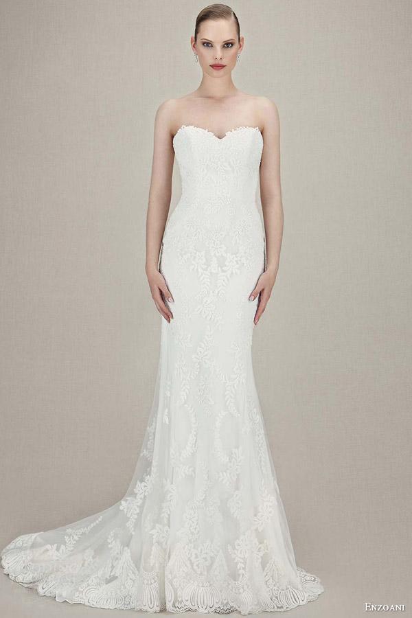 enzoani bridal 2016 karolina strapless sweetheart vintage lace tull mermaid wedding dress