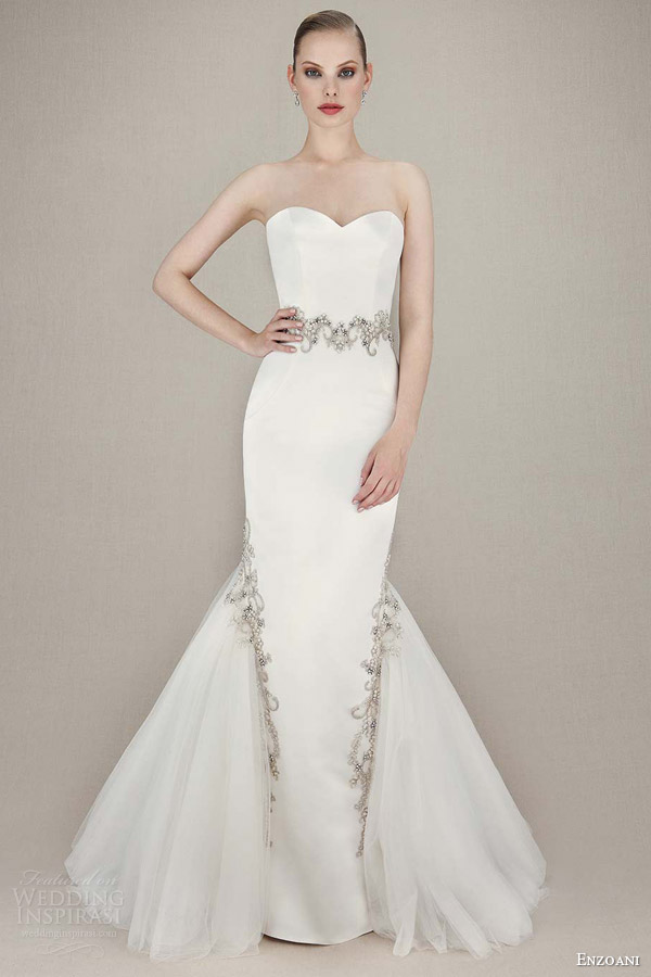 enzoani bridal 2016 kenzi straplesss sweetheart mermaid gown embroidered beaded lace silver beading