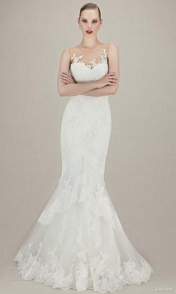 enzoani wedding dresses 2016 bridal kasia sleeveless illusion guipure corded lace tulle mermaid wedding dress