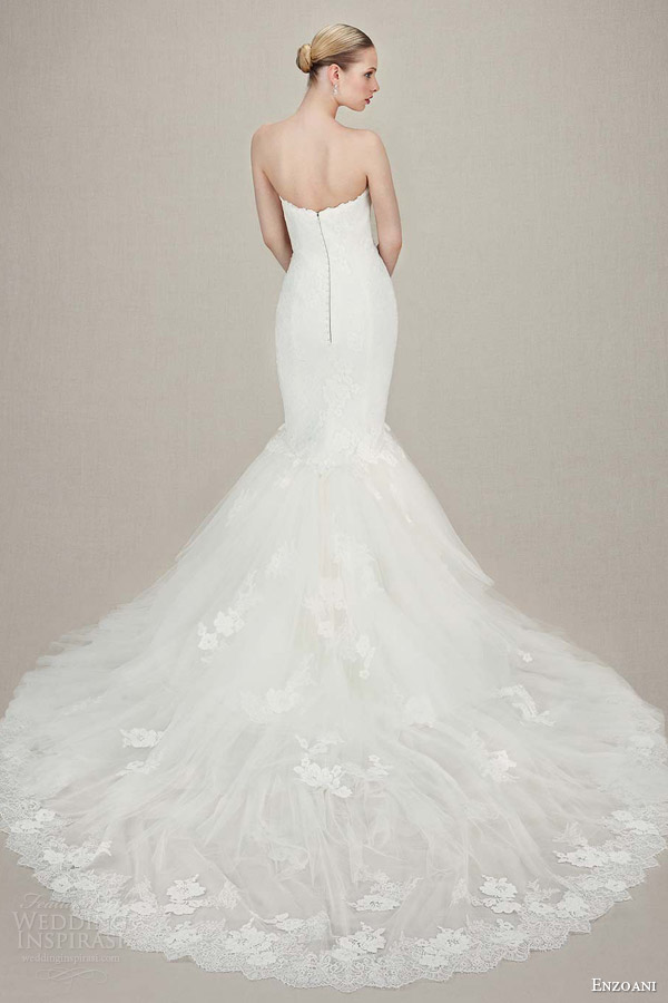 enzoani wedding dresses 2016 bridal kendra strapless sweetheart mermaid gown tulle alencon chantilly lace back view train