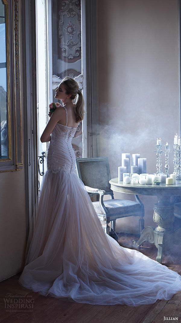 jillian 2016 wedding dresses spagetti strap sweetheart neckline embellished beaded ruched bodice gorgeous fit to flare wedding dress cecilia back view